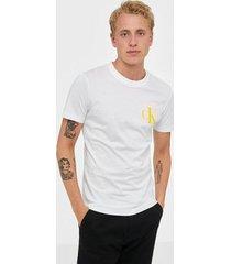 calvin klein jeans instit back pop logo slim tee t-shirts & linnen white