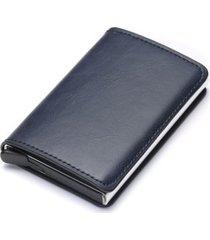 billetera hombre corta cuero pu con tarjetero aluminio 9810 azul