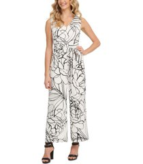 dkny printed belted jumpsuit
