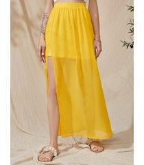 yoins semitransparente con forro de cintura elástica maxi falda