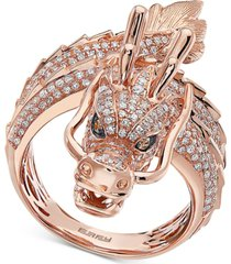 effy diamond dragon statement ring (1-1/3 ct. t.w.) in 14k rose gold