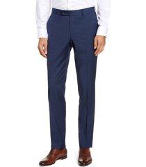 men's nordstrom men's shop trim fit wool blend trousers, size 42 x - blue