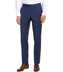 men's nordstrom men's shop trim fit wool blend trousers, size 38 x - blue