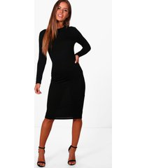 petite basic long sleeve midi dress, black
