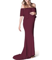 women's bun maternity simply stunning off the shoulder maternity maxi dress, size small/medium - red
