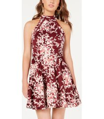 b darlin juniors' printed mock-neck crochet-trim fit & flare dress