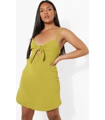 plus mini swing jurk met strik, olive