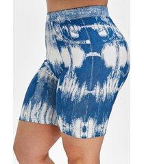 plus size sky tie dye 3d print shorts