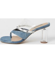 river island womens blue denim toe thong diamante mule sandals