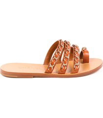 chanel brown leather chainlink slide sandals brown sz: 6.5