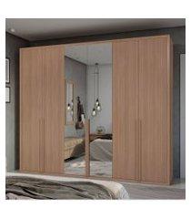 guarda roupa casal c/ espelho 6 portas 5 gavetas únique móveis lopas marrom