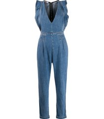 philosophy di lorenzo serafini ruffle trim denim jumpsuit - blue