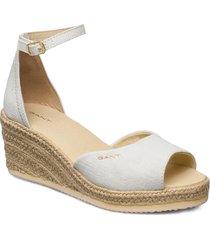 wedgeville plateau sandal sandalette med klack espadrilles vit gant