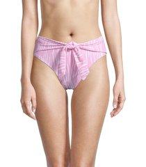 bcbgeneration women's zebra-print tie bikini bottom - pink - size l
