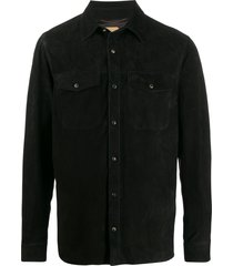 ajmone fitted leather shirt - black