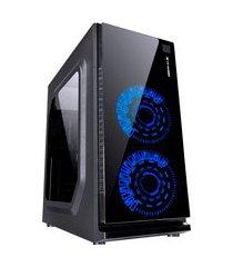 gabinete gamer vinik vx gaming janela acrílica 2 led azul frontal 120mm preto