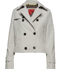 cropped azure trench zomerjas dunne jas wit superdry