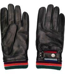 paul smith stripe detailed driving gloves - black