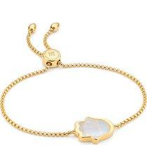 gold atlantis hamsa friendship chain bracelet moonstone
