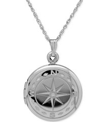 compass locket necklace in sterling silver
