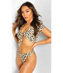petite leopard tie top bikini, black