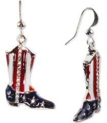 holiday lane silver-tone pave red, white & blue cowboy boot drop earrings, created for macy's