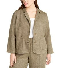 eileen fisher plus size organic linen notch collar shaped blazer