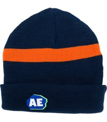 ader error stripe detail logo embroidered hat - blue