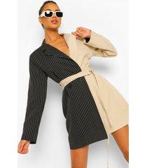 contrasterende oversized blazer jurk met krijtstrepen, black