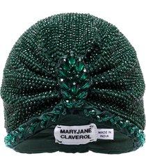 maryjane claverol guayana bead embellished turban - green