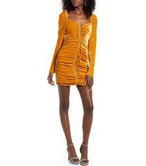 women's endless rose ruched long sleeve velvet body-con dress, size medium - yellow