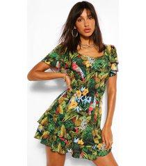 jungle print shirred waist mini dress