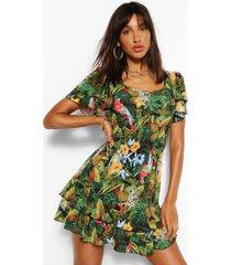 jungle print shirred waist mini dress, green