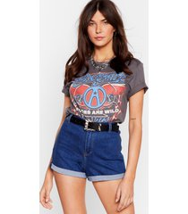 womens it's your turn-up high-waisted denim shorts - blue