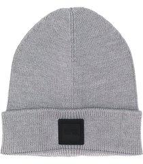 boss hugo boss fine knit beanie hat - grey