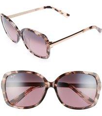 maui jim melika 58mm polarizedplus2(r) square sunglasses in pink tortoise rose gold at nordstrom