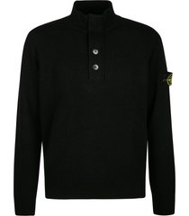 stone island high neck logo patched knit sweater