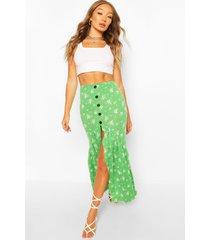 bloemenprint maxi rok met knopen, smaragd