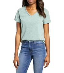 women's wit & wisdom chain trim v-neck tee, size small - green (nordstrom exclusive)