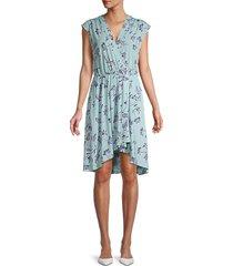 bcbgmaxazria women's floral-print asymmetrical faux wrap dress - harbor - size xs