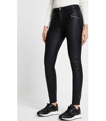 river island womens black quilted pu skinny fit pants