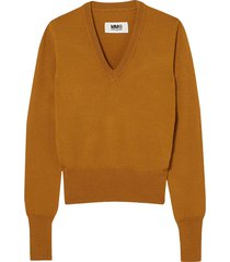 vinyl-paneled wool sweater