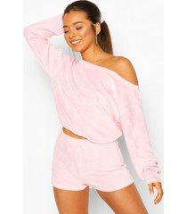 petite velours loungewear set met off shoulder top en shorts, pink