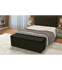 cabeceira mais calçadeira baú king 190cm para cama box sofia suede preto - ds móveis
