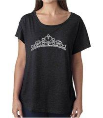 la pop art women's dolman cut word art shirt - princess tiara