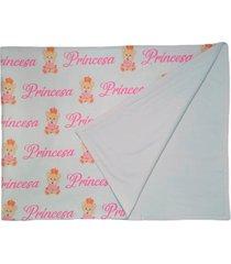 manta de beb㪠ursinha princesa cobertor dupla face branco  calupa - branco - menina - dafiti