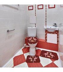 jogo de banheiro natal flamingo bordô único - tricae