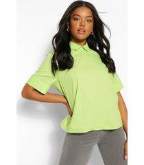 katoenen poplin blouse met open rug met strik, lime