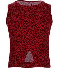 camiseta con abertura en frente color rojo, talla 14
