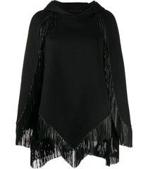 saint laurent fringed hooded cape - black